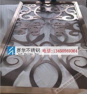 榆林专业加工不锈钢玫瑰色拉丝欧式花纹屏风