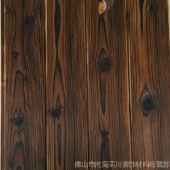 芬兰松木深度碳化木板浮雕拉丝背景墙