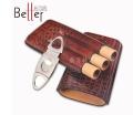 惠州新百特廠家定制便攜式雪茄皮套3支旅行裝雪茄套