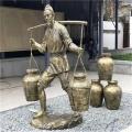 增城街头玻璃钢仿铜人物雕塑 小品买卖人物雕塑