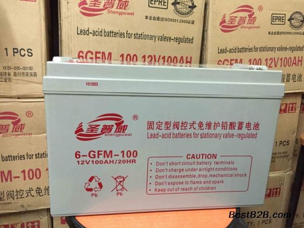 供应高安市圣普威6-GFM-100铅酸免维护电池