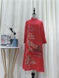 深圳原創設計高端品牌奧妃雅秋冬裝復古民族刺繡連衣裙