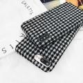 氣質黑白千鳥格子iP7 8p手機殼蘋果X毛絨創意潮