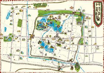 高清版,开封手绘地图,市区府电子交通旅游纪念品特产