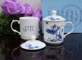 景德鎮骨瓷茶杯 辦公杯會議杯定做帶蓋青花陶瓷杯子