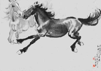 【国画教程】徐悲鸿画马,牛,狮子,猫的画法步骤