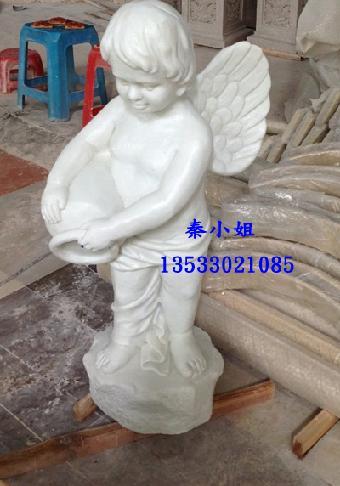 仿汉白玉雕塑 小天使流水雕塑 园林小品雕塑订做