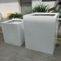 廣東玻璃鋼花盆方形白色組合花箱花缽定制落地花槽組合
