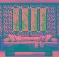 瓷板畫手繪青花山水四條屏