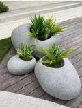 鵝卵石玻璃鋼花盆組合可定制仿石仿砂巖花缽花器石頭形
