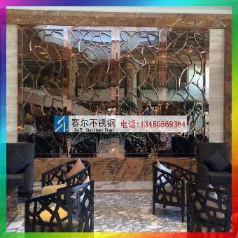 餐厅大堂不锈钢花纹背景墙装饰工艺