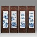 水墨風陶瓷瓷板畫 青花山水四條屏 訂做瓷板畫