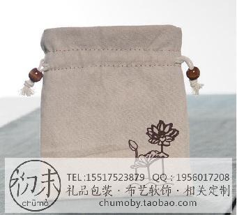 工艺品包装袋帆布袋亚麻布袋抽绳束口袋设计定做