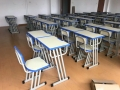 雙人學生課桌椅定制鋼木結合同城送貨
