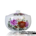 陶瓷米缸景德鎮 青釉雕刻牡丹荷花款