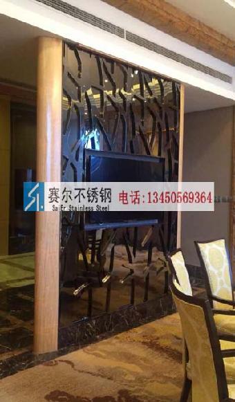 洛阳电视背景墙不锈钢镂空花纹装饰屏风