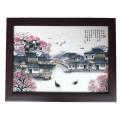 景德鎮陶瓷瓷板畫 仿古實木框 青花粉彩四條屏