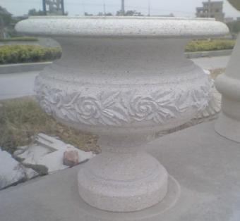 户外花钵,景观花钵,黄锈石花钵图片