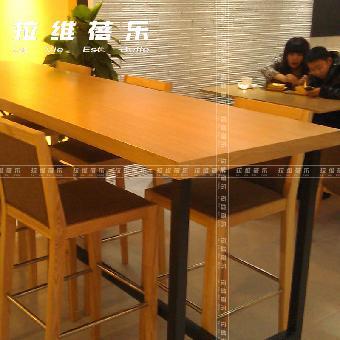 简约现代咖啡厅桌椅实木餐饮桌定制