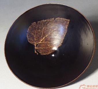唐山吉州窑黑釉木叶碗最新成交价格
