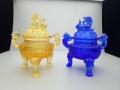 琉璃供水杯台琉璃香炉供杯果盘花瓶供灯琉璃佛教法器