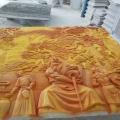 玻璃鋼雕塑廣州frp浮雕定制金色創意文化背景墻人物