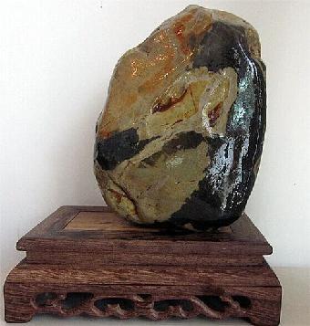 《东坡肉形石》出自内蒙古阿拉善左旗如鸡蛋大小清