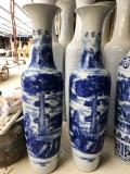 新款西安迎客松青花大花瓶 仿古陶瓷落地大花瓶擺件