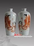 景德镇中式陶瓷摆件手绘花瓶客厅创意插花家居装饰工艺