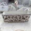曲阳石雕 青石仿古荷花盆 长1.5米石头水槽