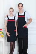 西安双肩带围裙定制快餐店员工围裙绣字印字纯棉布
