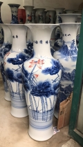 景德镇陶瓷落地大花瓶厂家定制开业花瓶山水大花瓶