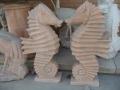 河北晚霞红喷水海马石雕小区景观流水雕塑厂家