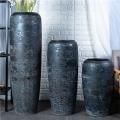欧式落地花瓶客厅插花陶罐 门店别墅橱窗三件套组合大