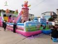 庙会儿童气包小猪佩奇充气城堡小孩们都爱玩