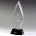 西安水晶奖杯单位奖励优秀员工纪念品 刻字水晶上金色