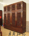 工艺大师手工雕刻红木书柜家具