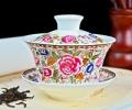 仿古万花陶瓷盖碗 红釉喜字陶瓷盖碗订做