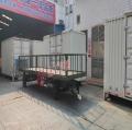 5吨护栏平板拖车全挂底盘拖车军绿色