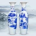 景德镇手绘新中式干青花陶瓷花瓶摆件客厅插花玄关装饰