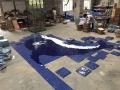 游泳池背景墙蓝色玻璃陶瓷马赛克海豚拼图效果图