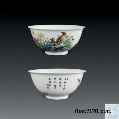 新加坡拍卖成交精品:清代 珐琅彩如意云鹤纹碗