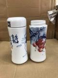 骨瓷双层真空陶瓷内胆保温杯茶杯男女士商务水杯大容量