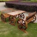 户外休闲实木桌椅阳台酒吧碳化木车轮桌椅庭院室外桌椅