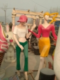 玻璃钢雕塑几何彩绘上班族白领立体步行街雕塑摆件装饰