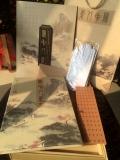 长安八景丝绸邮票纪念册 西安特色学校纪念丝绸卷轴画