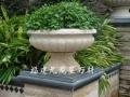 加工石材花钵 黄锈石花盆 园林花钵雕刻