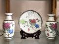 现代新中式纯手绘荷花陶瓷花瓶三件套样板间家居饰品装